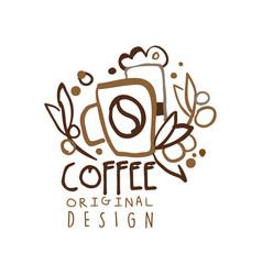 coffee to go hand drawn original logo design with vector image vector image