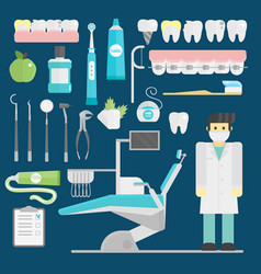 dentist symbols set health care medicine vector image