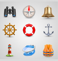 marine set icons vector image