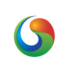 3d swirl colerful logo image vector image