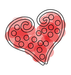 Beautiful heart dotted drawing icon vector