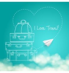 flying paper plane around travel vector image vector image