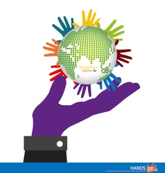 Hand holding the Earth vector image vector image