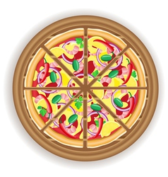 pizza cut on a wooden board vector image