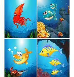 Sea animals living under the ocean vector image vector image