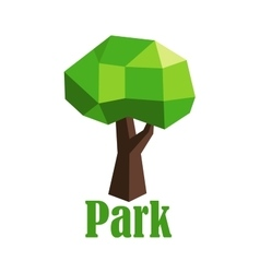 Abstract polygonal green tree icon vector image vector image