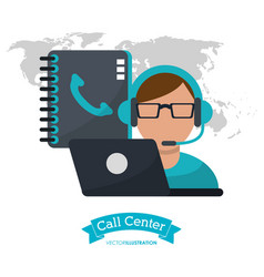 call center man operator contacts laptop vector image