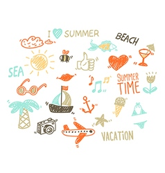 Collection of summer elements in sketch style vector image vector image