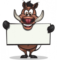 cute warthog holding sign vector image vector image