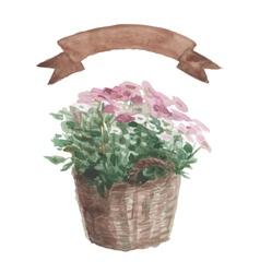 Pink flower in a flower pot beige ribbon set on vector image