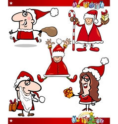 Santa and Christmas Themes Cartoon Set vector image vector image
