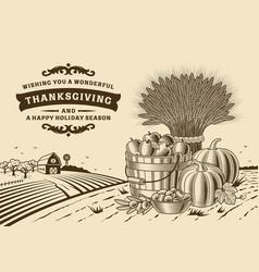 vintage thanksgiving landscape brown vector image vector image