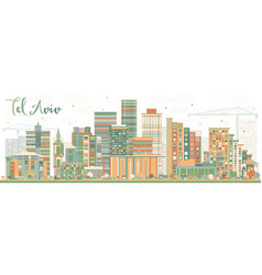 Abstract tel aviv skyline with color buildings vector