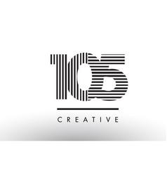 105 black and white lines number logo design vector