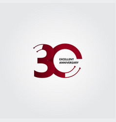 30 years excellent anniversary template design vector