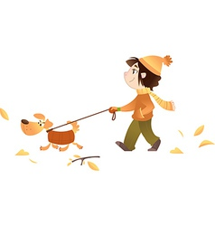 A girl walking with her dog vector image