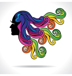 Abstract colorful hair fashion girl vector