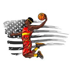 American basketball player sports vector