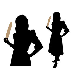 Angry woman with a rolling pin vector