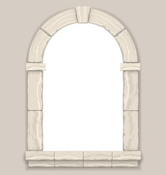 Arch in the wall of beige cut stone vector