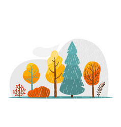 Autumn rainy landscape with rain texture cloud vector