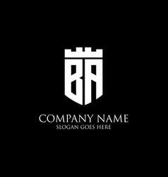 Ba initial shield logo design inspiration crown vector