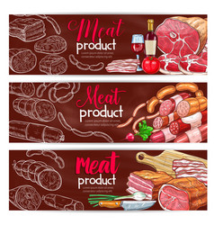 Banners for butchery shop meat products vector