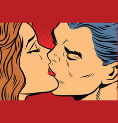 Beautiful man and woman kissing couple love vector