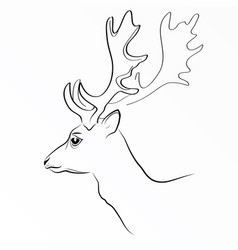 black silhouette of deer s head with vector image