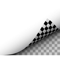 Blank Paper Sheet with Checkered Page Curl Black vector