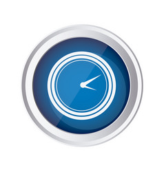 Blue emblem clock icon vector
