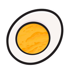 boiled chicken egg cut in half sketch style vector image