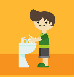 Boy character washing hands cartoon vector