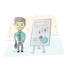 Businessman and graphs on white board vector