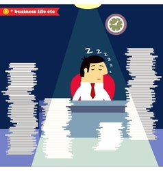 Businessman sleeping at the desk vector