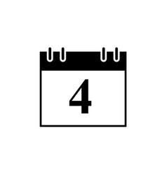calendar of date 4 black icon vector image