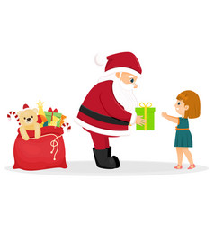 cartoon santa claus gives a gift to a girl vector image
