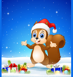 cartoon squirrel wearing santa hat in the winter b vector image