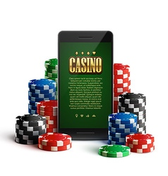 casino chips and mobile isolated on white vector image vector image