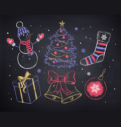 chalked christmas set vector image