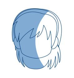 chibi anime girl avatar contour default vector image