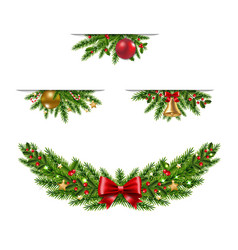 christmas garland collection white background vector image
