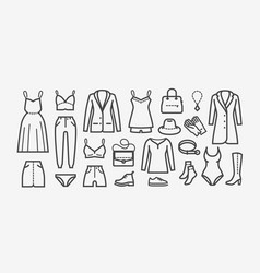 clothing icon set in linear style shopping vector image