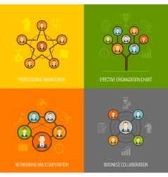 Connected people flat icons set vector image