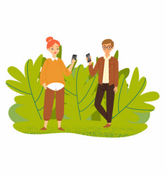 couple young people with smartphones gadgets vector image