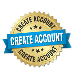 Create account 3d gold badge with blue ribbon vector