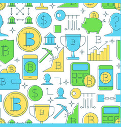 cryptocurrency seamless pattern in colored line vector image