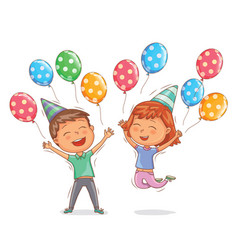 Cute boy and girl happy with birthday balls vector