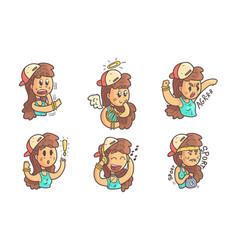 Cute girl in baseball cap showing various emotions vector