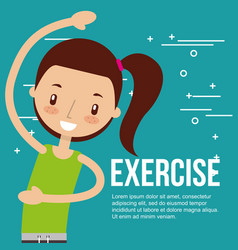 Cute girl training healthy exercise vector